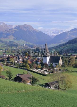 saanen village church in foreground fashionable