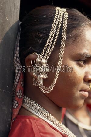 close up of ear adornments dhariyawad