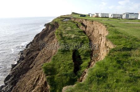 coastal erosion with active landslips in
