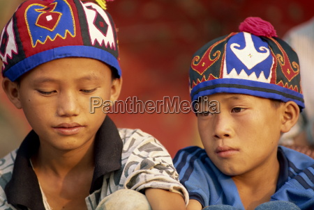portrait of two hmong hill tribe
