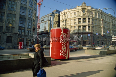 giant coke can advert moscow russia