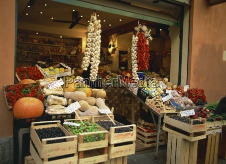 vegetable shop selling garlic olives and