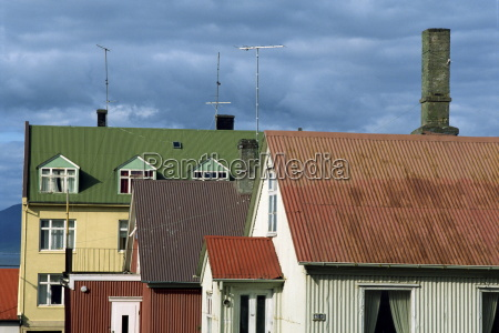 typical colourful corrugated buildings which are