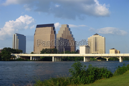 the river bridge and skyline of