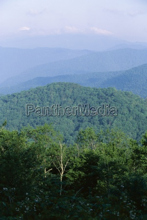looking over the appalachian mountains from