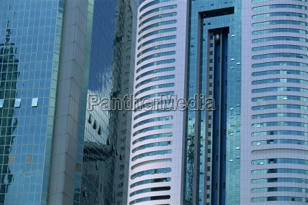 close up of tower blocks in
