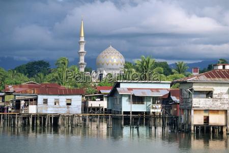stilt village and state mosque in