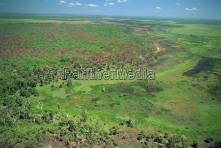 aerial of wetlands on the floodplain