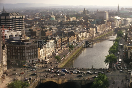 aerial view along the river liffey