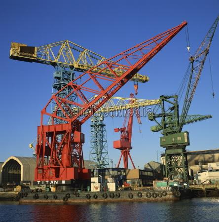cranes at the swan hunter shipyard