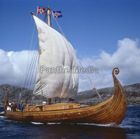 replica oseberg viking ship west norway