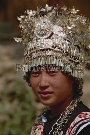 silver headdress worn by miao girls