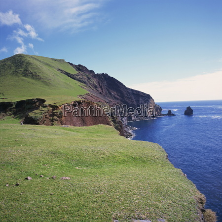 grass topped cliffs along the north