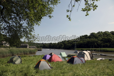 camping at cothele quay river tamar