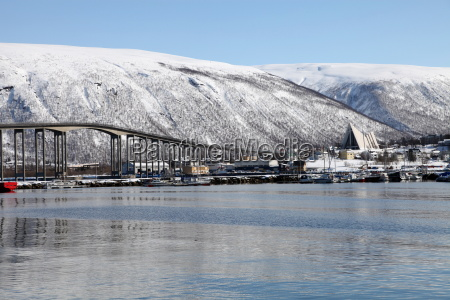 tromso bridge and the cathedral of