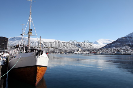 whaler in tromso harbour with the