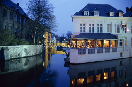 reflections in the canals of restaurant