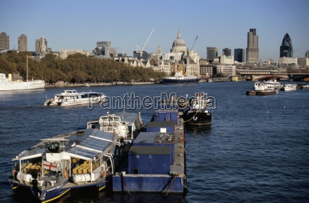 city of london skyline and river