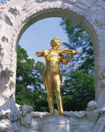 gold statue of the musician johann