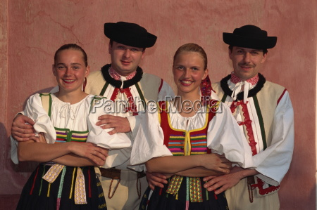 two couples in traditional slovak folk