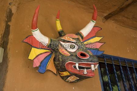 devil mask aldea margarita island caribbean