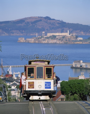 tram on russian hill with view