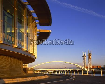 salford quays and bridge manchester england