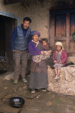 portrait of a nepali family at