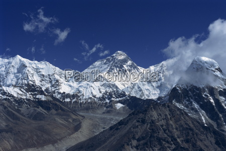 snow capped mount everest seen from