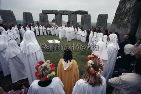 druids at stonehenge wiltshire england united