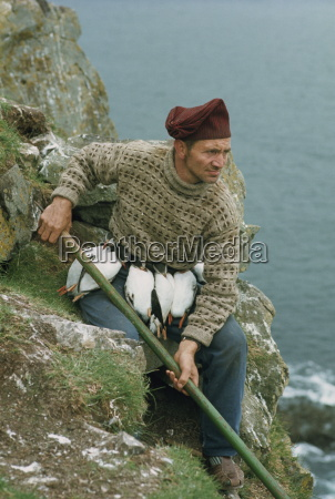 portrait of a puffin catcher with