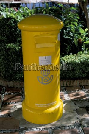 yellow postbox spain europe
