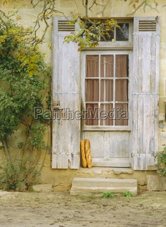 rustic door and bread aquitaine france