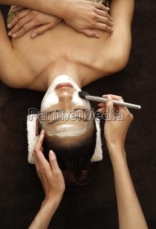 application of facial mask for facial