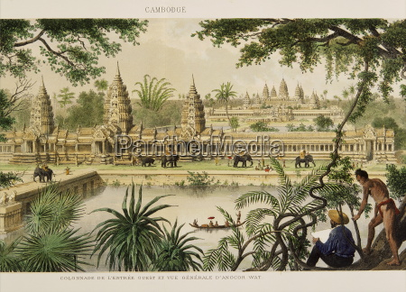 engraving of angkor wat from exploration