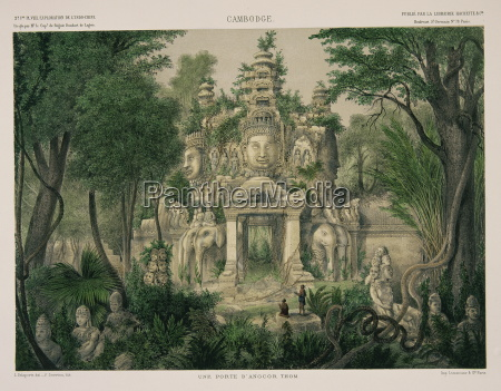 engraving showing the gate of angkor