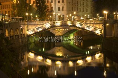 the triple bridge over river ljubljanica
