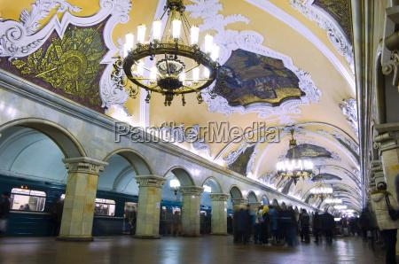 interior of komsomolskaya metro station moscow