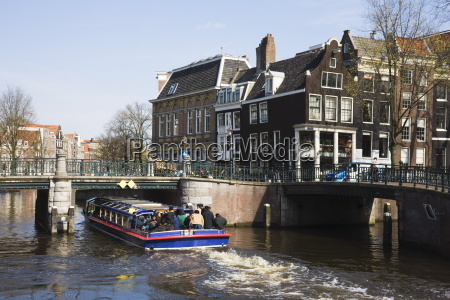 tourist canal boat on the leidsegracht