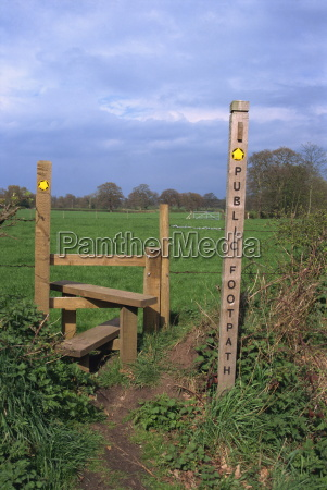 entrance to public footpath cheshire england