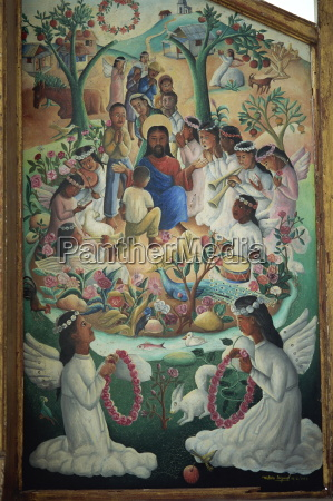 vision of heaven tryptych panel painted