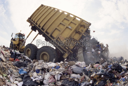 lorry arrives at waste tipping area