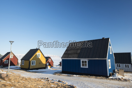 colourful wooden houses in the village