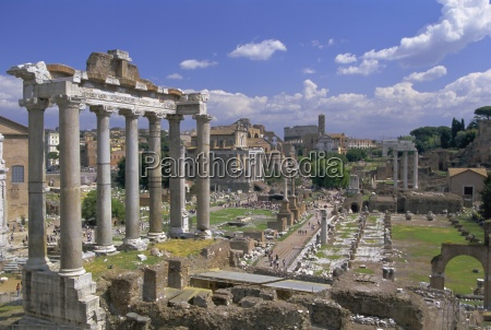 view across the roman forum rome