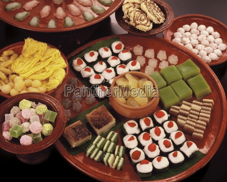 a variety of thai sweets made