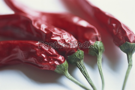 close up of dried chilli peppers