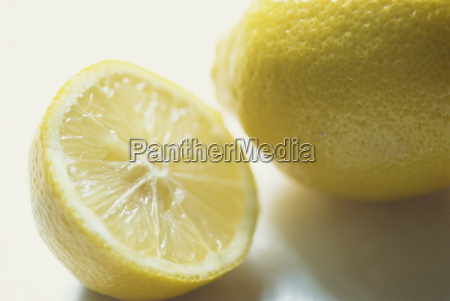 still life of cut lemon