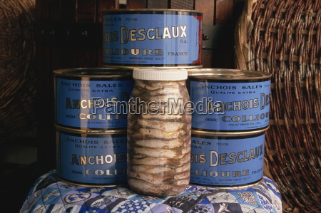 jars and tins of anchovies desclaux