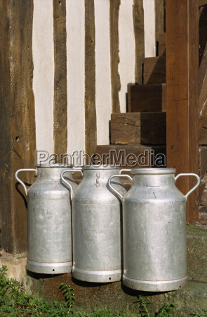 milk cans normandie france europe