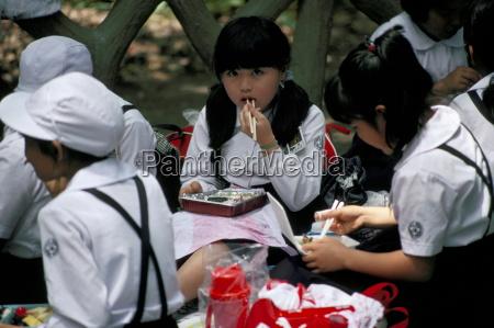 schoolgirls eating packed lunch bento kagoshima